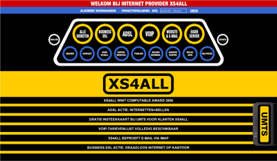 Website design for XS4ALL, the first webhost organisation, 1997 (?)